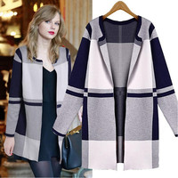 Stripes Knit Tops Winter Slim Plaid Casual Jacket [9344410436]