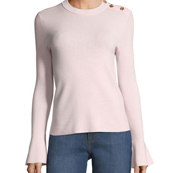 Tory Burch Kimberly Bell-Sleeve Merino Sweater w/ Buttons | Neiman Marcus