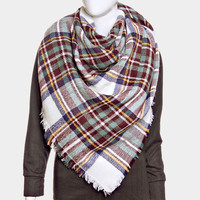 Plaid Check Knit Fringed Trim Blanket Scarf - White & Green