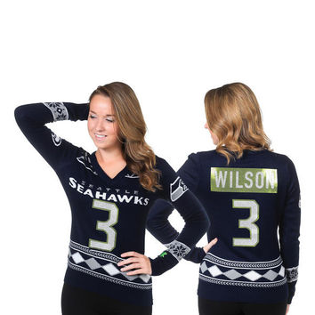 Women's Seattle Seahawks NFL Russell Wilson Klew College Navy Name and Number Ugly V-Neck Sweater