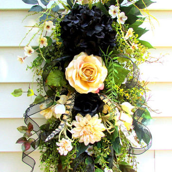 country rustic decor, floral door swag, swag wreath, hydrangea swag, front door wreath, rustic decor, farmhouse decor, shabby chic wreath