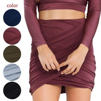 Fashion Women High Waist Short Skirt Sexy Bandage Bodycon Cross Folded Pencil Skirts  H9