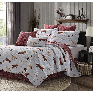 Wild and Free Burgundy Bandana Back Western Horses Quilt Bedspread - 3 Piece Set