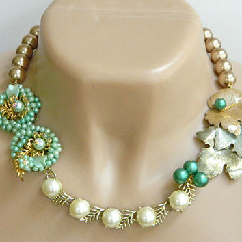 Green and Gold Recycled Jewelry Necklace Handcrafted Vintage Statement Short
