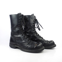 Combat Boots Vintage 1980s Double H H Made in USA Black Leather Lace Up Grunge Men's size 6 1/2 D