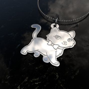 Custom Engraved [Marie Cat] Sterling Silver Pendant Necklace