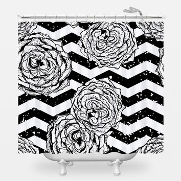 Chevron Hipster Flowers Shower Curtain