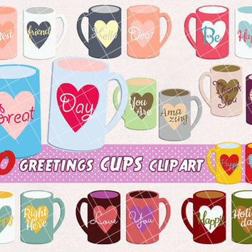Cups labels clipart, coffee mug, tea cup, greetings banner, for invitations, cards, scrapbooking, printable party decorations. PNG, 300 dpi.