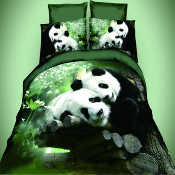 3D panda reactive print  king/queen/twin size 3/4pcs bedding set  of duvet cover bed
