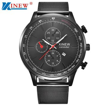 Luxury Mens Quartz Wrist Watch Date Gunmetal Stainless Steel Sport Army