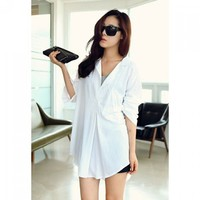 Wholesale Lazy Style Shirt Neck Long Sleeves Loose Fit Long Style Solid Color All-Match Cotton Blend Shirt For Women (WHITE,ONE SIZE), Blouses - Rosewholesale.com