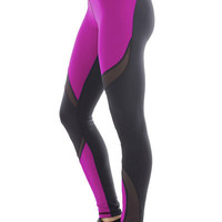 Michi Supernova Magenta Leggings | Purple and Black Designer Leggings