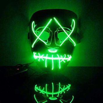 New 1PC EL MASK The Purge Movie EL Wire DJ Party Festival Halloween Costume LED Mask HQ Halloween MASK