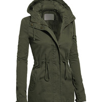 Olive Zip-Up Drawstring Anorak - Plus Too