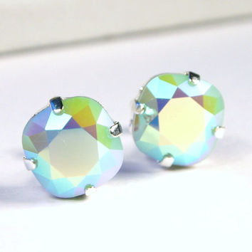 Mint AB Crystal Stud Earrings - Classic Sparkling Rainbow Alabaster Solitaire Swarovski 10mm - Sterling Silver Post & Copper