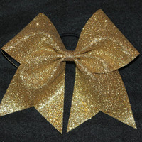 Silver, glitter cheer bow