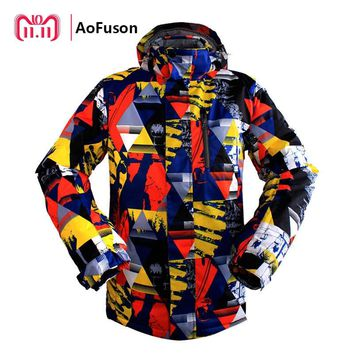 Professional Ski Snowboard Jacket Winter Snow Windproof Waterproof Warm Hiking Coat Breathable Skiing Hooded Graffiti Jacket Men