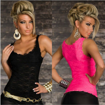 Sleeveless O-neck Pure Color Slim Lace Tank Top Black/Rose Red WAY3703 = 6091742403