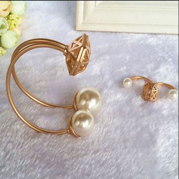 ONETOW Star section dumb gold hollow pearl two fingers ring opening bracelet