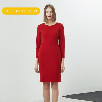 biocen Vfemage Womens Autumn Winter Elegant Patchwork Slim Sweet Work Business Office Party Fitted Bodycon Pencil Sheath Dress