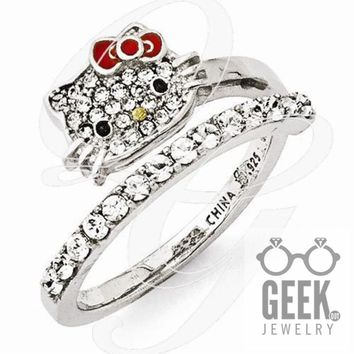 Sterling Silver Hello Kitty Crystal/Enamel Red Bow Collection Spiral Ring