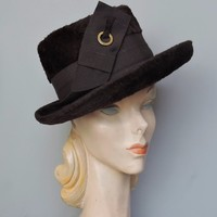 1960s Brown Plush Wool Hat by Doris Designed - Fedora Style with Ribbon Decor, 21 inch head