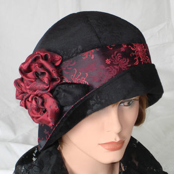 1920s Cloche Hat Flapper Hat 20s Downton Abbey Black Velvet Burgundy Red Vintage Style 22,5 -23 inch