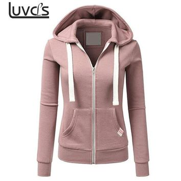 LUVCLS 2018 Winter Fashion Womens Hoodies Sweatshirt Zipper Jacket Solid Zipper Women Hoodies Sweatshirts Moleton Feminino