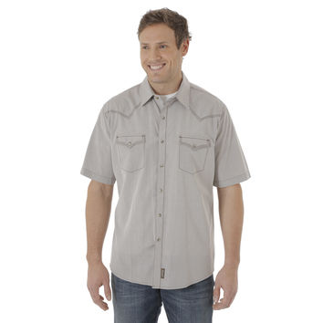 Wrangler Mens Western Retro Brown Snap Short Sleeve Shirt