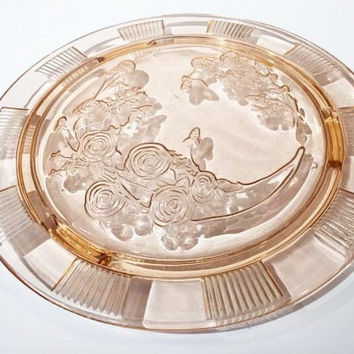 Pink Glass Cake Plate| Pink Sharon Cabbage Rose Cake Plate, Footed Glass Cake Plate