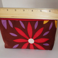 Daisy Prints Cosmetic Organizer Bag with Silky Purple Polka Dot Lining