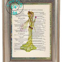 Yellow Winged Fairy Art Beautifully Upcycled Vintage Dictionary Page Book Art Print, Fantasy Art Print