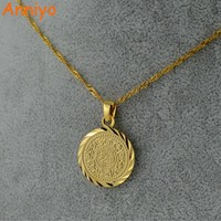 Anniyo Islam Muslim Ancient Coins Necklaces Gold Color Arab Money Sign Chain Middle Eastern Coin Items,Money Maker Gift #049606