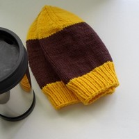 Dark Brown and Yellow Wool Hat Slouchy Cap Adult Size Hat Ready to Ship