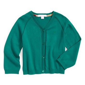 Toddler Girl's Burberry Cotton Cardigan,