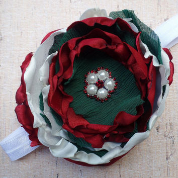 CHRISTMAS HEADBAND, over the top, shabby chic singed flower, red, green, white, pearl, crystals Country Christmas, baby girl, child, adult