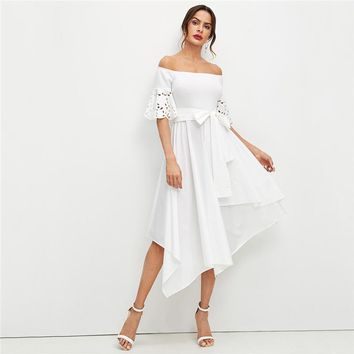 Elegant White Laser Cut Sleeve Hanky Hem Off the Shoulder Dress Women Solid Belted Fit and Flare Party Midi Dresses