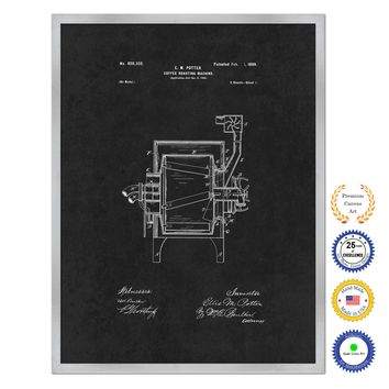 1899 Coffee Roasting Machine Antique Patent Artwork Silver Framed Canvas Home Office Decor Great for Coffee Lover Cafe Tea Shop