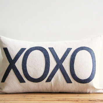 "xoxo decorative pillow cover, hugs and kisses, 12"" x 20"", valentines, natural rustic urban farmhouse industrial, kids, typography"