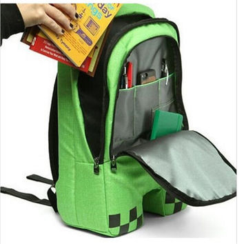 New  sell minecraft backpack high quality unisex children mochilas school bag bolsas boy girls Oxford zip creeper backpacks