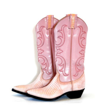1992 Pink Lizard Skin Cowboy Boots by Larry Mahan