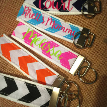 Personalized Key Fob Wristlet- Chevron Key Chain- Personalized Key Fob- Wristlet- Personalized