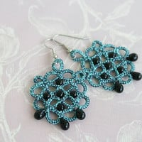 Tatted earrings RainDrops, turquoise earrings, lace earrings, statement earrings, chandelier earrings, tatting jewelry.