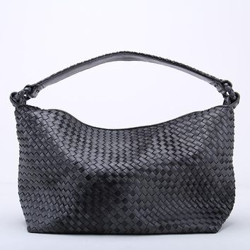 Fade Color Women's Woven Leather Half Moon Handbag Knitting Hobo Gradient Dumpling Bag Casual Tote