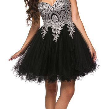 Juliet 762 Black Silver Sweetheart Neckline Poofy Short Prom Dress