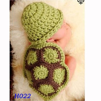 Green Turtle Baby Hat with Cape Set Children Photography Props Newborn Baby Crochet Animal Beanie Costume Set H022