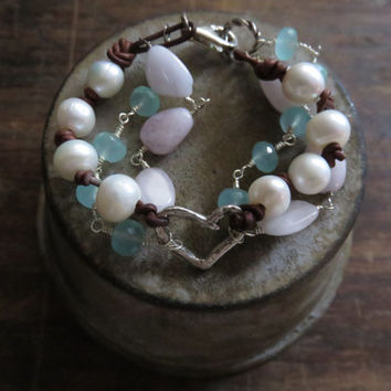 Boho Multi Strand Heart, Giant Freshwater Pearls, Mystic Pink Chalcedony, and Mystic Aquamarine Sterling Silver and Leather Bracelet