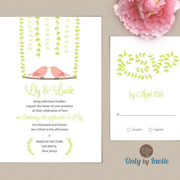 Lesbian Wedding Invitation and RSVP card set | Same Gender Wedding Invitations | Two Birds | Groom and Groom
