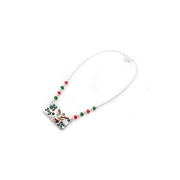 Reindeer metal bar beaded necklace