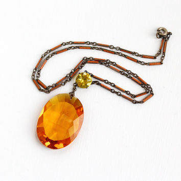 Sale - Antique Art Deco Simulated Citrine & Enamel Pendant Necklace - Vintage 1920s 1930s Brass Orange Yellow Costume Faceted Glass Jewelry